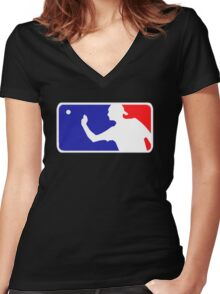 Beer Pong.  Women's Fitted V-Neck T-Shirt