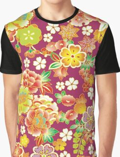 Red Green Vintage Floral Japanese Kimono Graphic T-Shirt