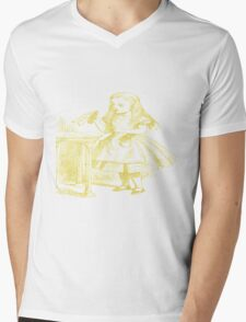 Alice with Drink Me Bottle from Alice's Adventures in Wonderland in Gold Mens V-Neck T-Shirt