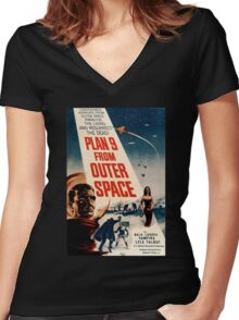 Plan 9 From Outer Space Retro Movie Pop Culture Art Women's Fitted V-Neck T-Shirt