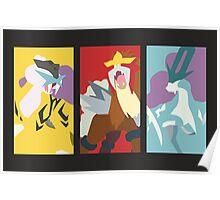 Minimalist Beasts - Raikou / Entei / Suicune Poster