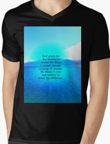 Serenity Prayer With Blue Ocean and Amazing Sky Mens V-Neck T-Shirt