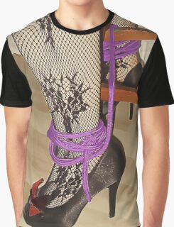 Bodystocking, Ropes and Tied to Chair Girl BDSM Play 3 Graphic T-Shirt
