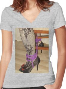 Bodystocking, Ropes and Tied to Chair Girl BDSM Play 3 Women's Fitted V-Neck T-Shirt