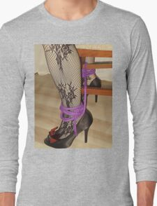 Bodystocking, Ropes and Tied to Chair Girl BDSM Play 3 Long Sleeve T-Shirt