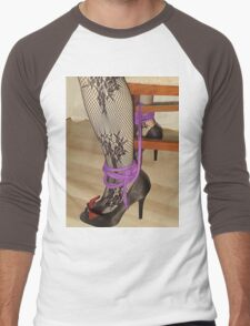 Bodystocking, Ropes and Tied to Chair Girl BDSM Play 3 Men's Baseball ¾ T-Shirt