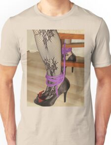 Bodystocking, Ropes and Tied to Chair Girl BDSM Play 3 Unisex T-Shirt