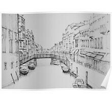 Venice Wooden Bridge Sketch Poster
