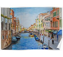 Venice Wooden Bridge Aquarelle Poster