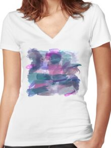 Watercolour Wonderland Women's Fitted V-Neck T-Shirt