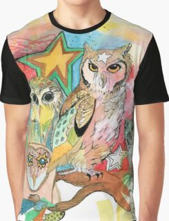 Owls and Stars Graphic T-Shirt