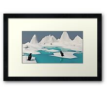 Low Poly Penguin Scene Framed Print