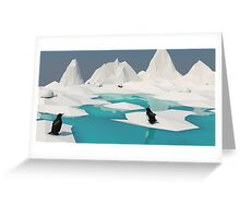 Low Poly Penguin Scene Greeting Card