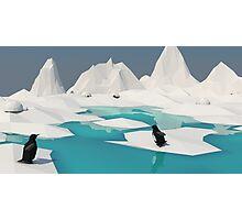 Low Poly Penguin Scene Photographic Print