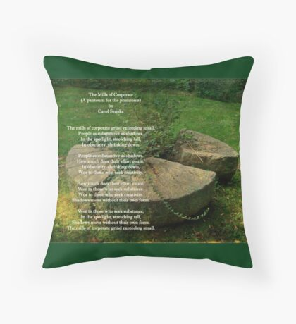 The Mills Of Corporate - Poem and Image Throw Pillow