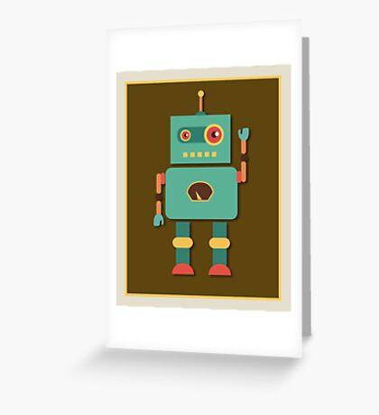Fun Retro Robot Art Greeting Card