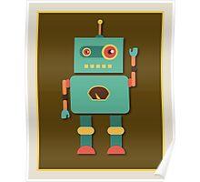 Fun Retro Robot Art Poster