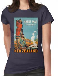 Haere Mai Welcome to New Zealand Vintage Travel Poster Womens Fitted T-Shirt