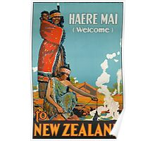 Haere Mai Welcome to New Zealand Vintage Travel Poster Poster