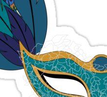 Blue Lace Masquerade Mask Sticker