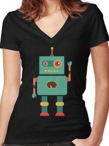 Fun Retro Robot Art Women's Fitted V-Neck T-Shirt
