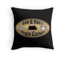 Leo & Pat's Train Corner Logo Throw Pillow