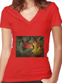 Design in Autumn Colours Women's Fitted V-Neck T-Shirt