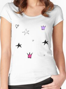 Stars pattern pink Women's Fitted Scoop T-Shirt