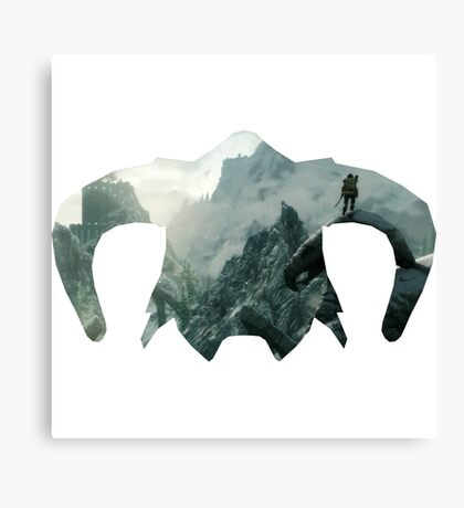 Elder Scrolls - Helmet - Mountains Canvas Print