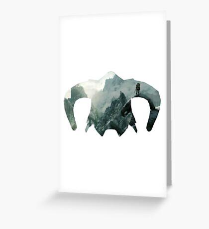 Elder Scrolls - Helmet - Mountains Greeting Card
