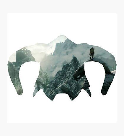Elder Scrolls - Helmet - Mountains Photographic Print