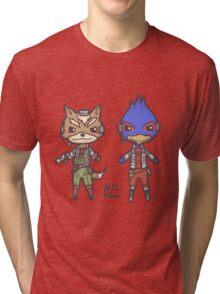 StarFox64- Fox Falco Chibi Tri-blend T-Shirt