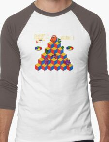 Q*Bert - Video Game, Gamer, Qbert, Orange, Black, Nerd, Geek, Geekery, Nerdy Men's Baseball ¾ T-Shirt