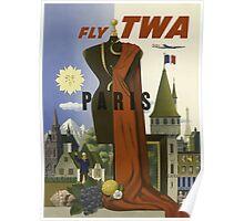 Fly TWA Paris Vintage Travel Poster Poster