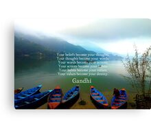 Gandhi Wisdom Saying About Destiny With Mountain View Canvas Print