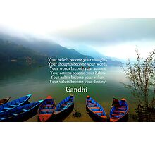 Gandhi Wisdom Saying About Destiny With Mountain View Photographic Print