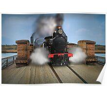 Rx Class Steam Train crossing the motor/railway bridge, Murray Bridge Poster