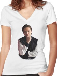 Sebastian Stan Women's Fitted V-Neck T-Shirt