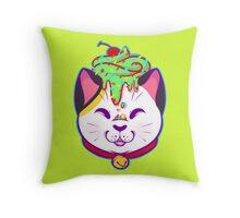 Cupcake Maneki-neko Throw Pillow