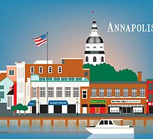 Skyline of Annapolis Maryland city dock print by Loose Petals, LLC by Loose  Petals