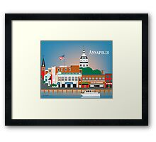 Skyline of Annapolis Maryland city dock print by Loose Petals, LLC Framed Print