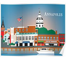 Skyline of Annapolis Maryland city dock print by Loose Petals, LLC Poster