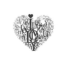 Love heart black and white Photographic Print