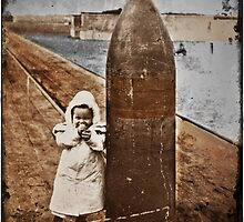 Baby and Bomb on a Pier WWI by dianegaddis