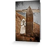 Baby and Bomb on a Pier WWI Greeting Card