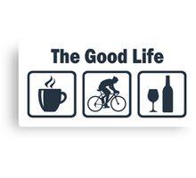 Cycling The Good Life Coffee Wine Canvas Print