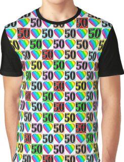50TH BIRTHDAY RAINBOW HEART DESIGN Graphic T-Shirt