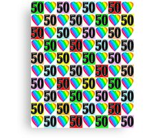 50TH BIRTHDAY RAINBOW HEART DESIGN Canvas Print