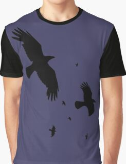 A Murder of Crows In Flight Vector Silhouette Graphic T-Shirt