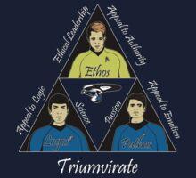 Star Trek Triumvirate - White Text for dark shirts Kids Clothes